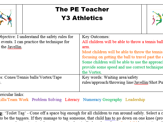 Y3/4 Athletics: Teaching the technique for Javelin