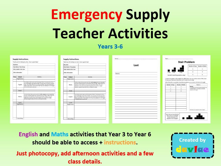 Emergency Supply Teacher Activities