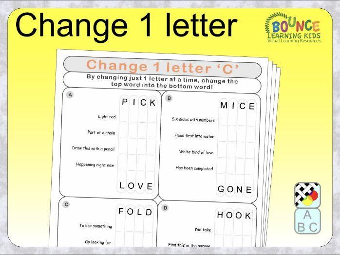 Change 1 letter distance learning worksheets