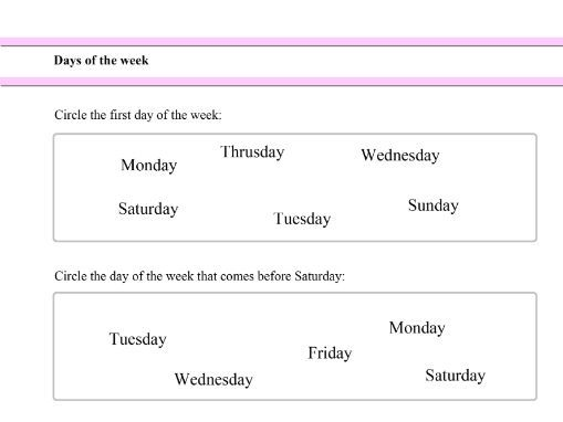 Easy Days of the Week worksheet for Year 1 students