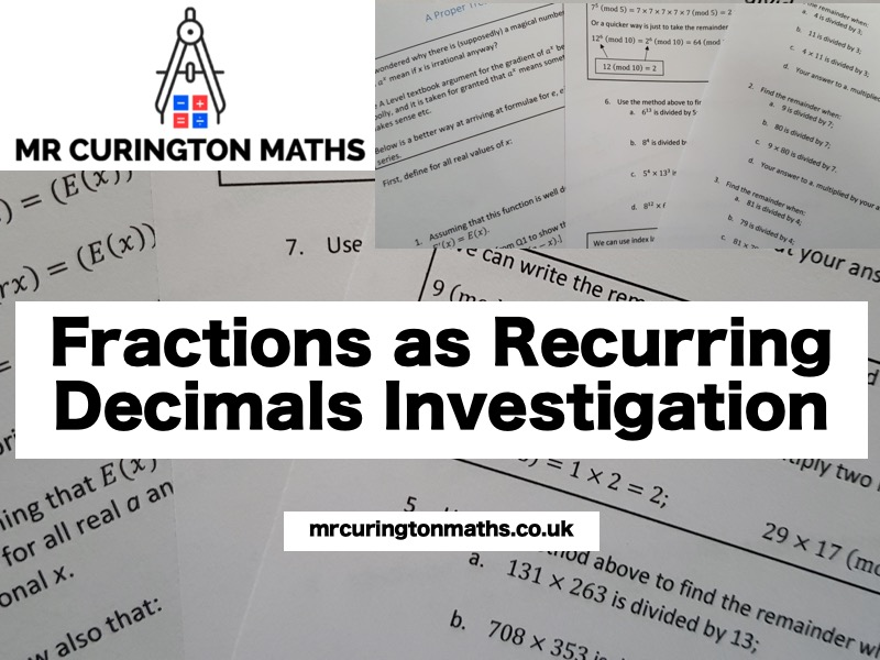 Fractions as Recurring Decimals Investigation