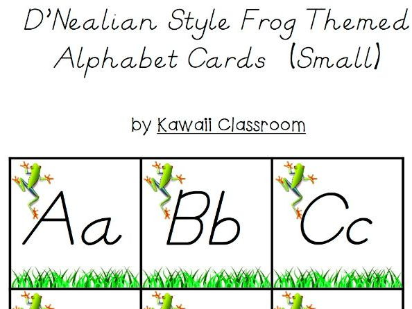 D'Nealian Style Frog Themed Alphabet Letters (Small)