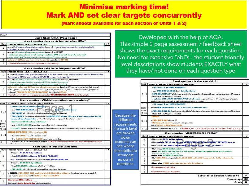 Marking/ assessment/ exam feedback - AQA 9-1 GCSE 2019: Unit 1, Section B - ACCURATE