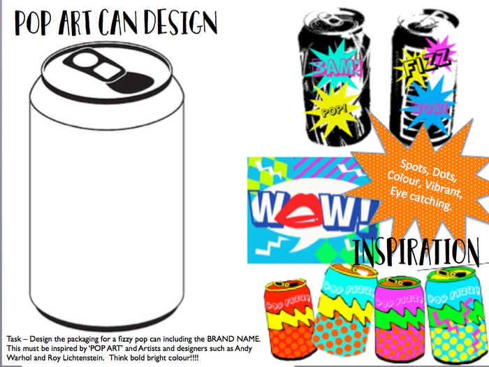 POP ART can design cover lesson / homework sheet