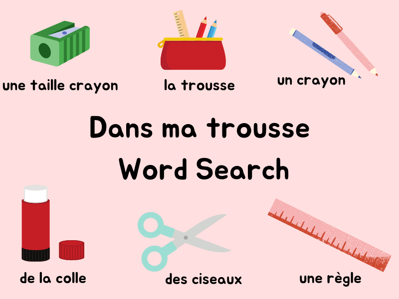 French Word Search - My Pencil Case