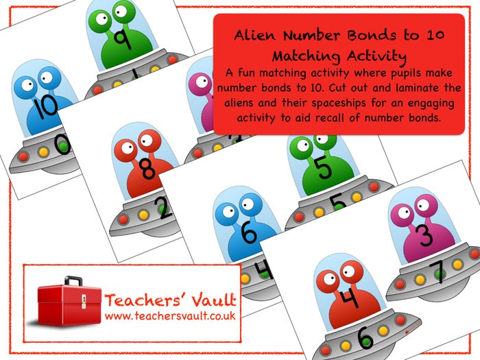 Alien Number Bonds to 10 Matching Activity