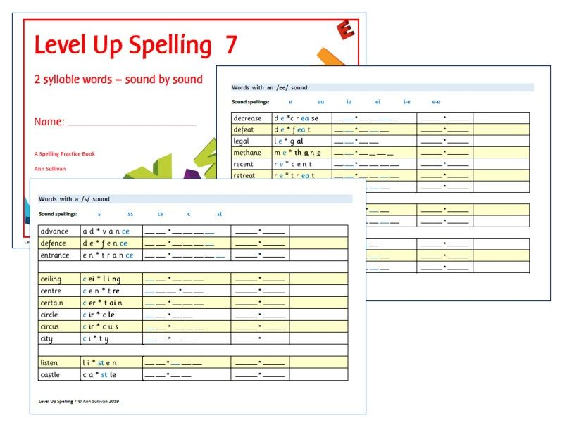 Level Up Spelling 7 - Practice Booklet - 2 syllable words organised by sound - Phonics for SEN