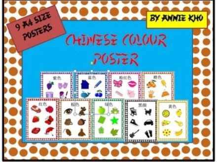 Chinese /English/Hanyu Pinyin Colours Poster
