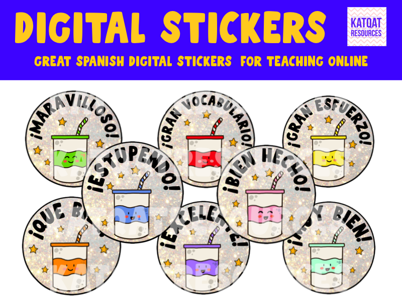 Spanish - Cute Digital Stickers For See Saw and Google Classroom - Soda