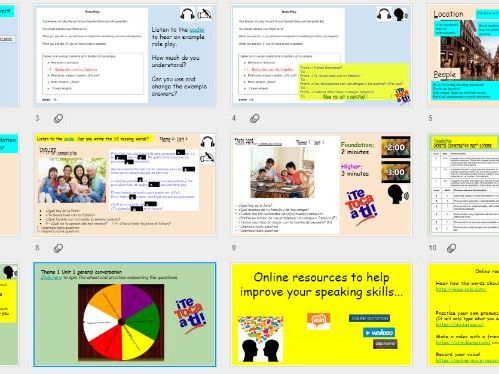 AQA 9-1 GCSE Spanish Theme 1 Unit 1 speaking listening practise  role play photo card general conv