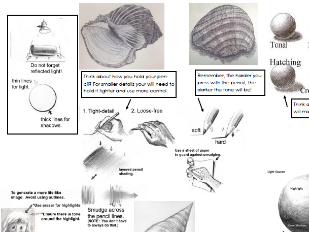 Art Helpsheet - Pencil Tone Tips KS3 Drawing