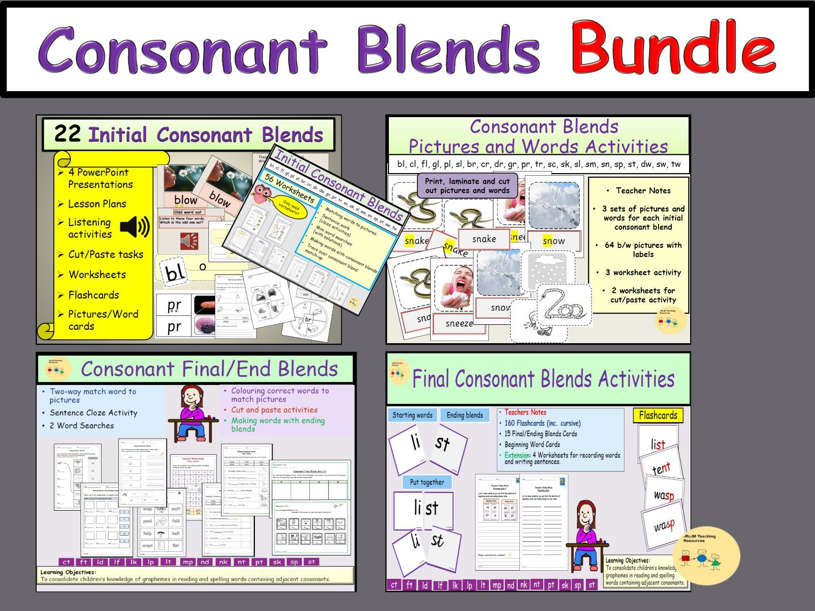 Consonant Blends Bundle - Initial/Beginning and Final Consonant Blends Worksheets Activities Flashcards Presentations Lesson Plans