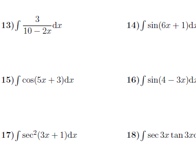 Integration using the reverse of the chain rule  worksheet (with solutions)
