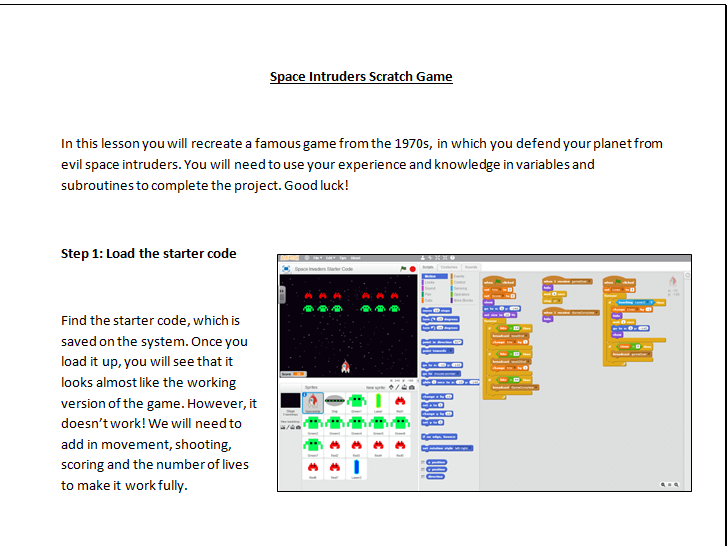 KS3 Scratch Space Intruders game tutorial