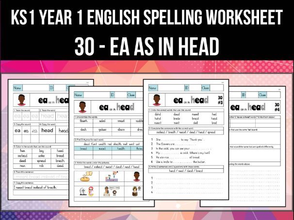 Spelling & Phonics Worksheet - ɛ sound spelled EA