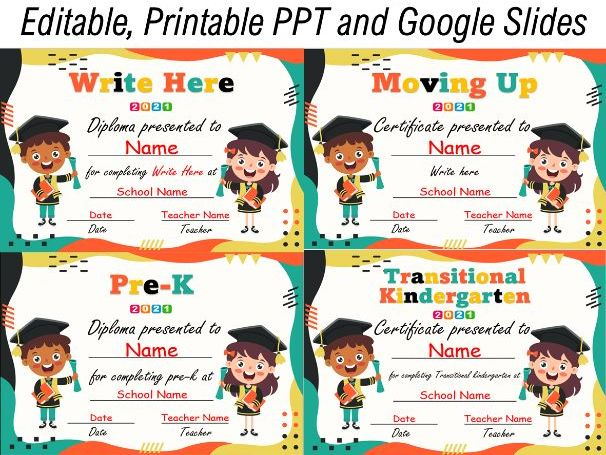 End of the Year Certificates/Diplomas | Google Slides and Printable