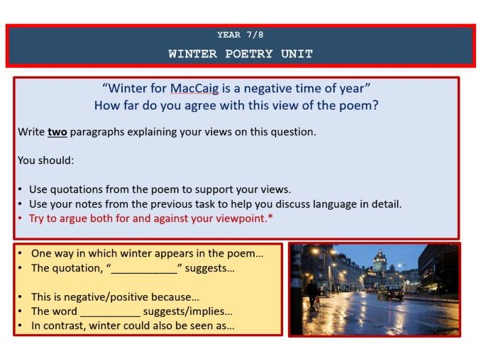 Winter Poetry Short Unit for Year 7/8