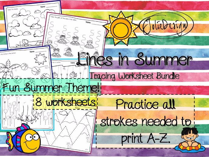 Tracing Activity - Lines in Summer Pre-Writing Worksheet Bundle