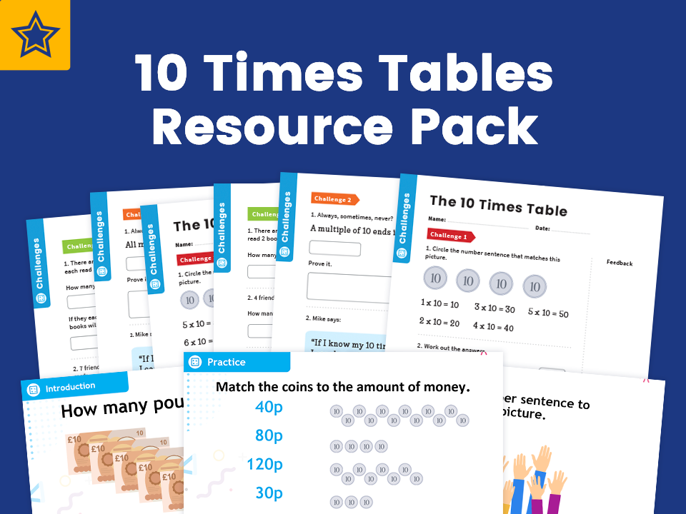 10 Times Table Resource Pack: Teaching, Practising & Investigating: PowerPoint & Activity Worksheets