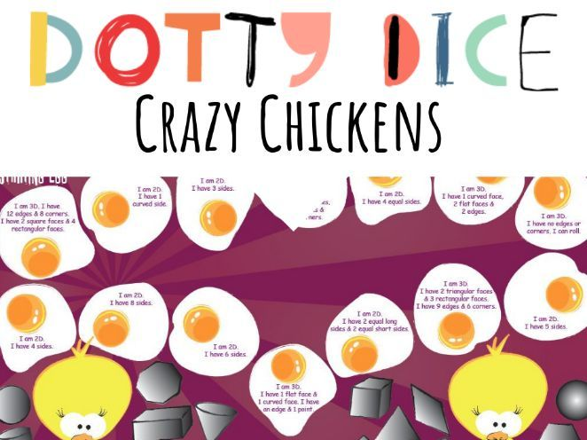 Geometry Board Game - Crazy Chickens - 2D and 3D Shapes