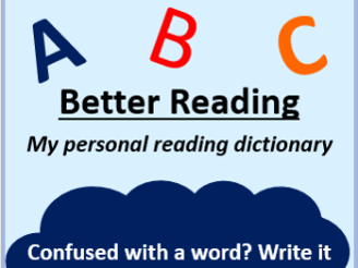 Reading dictionary - ideal for Accelerated reader lessons with spelling strategies on the back