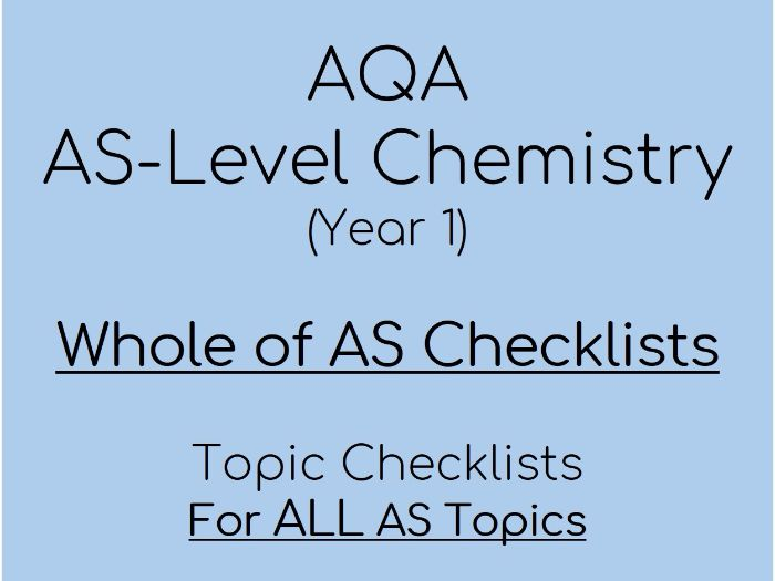 AQA AS-Level Chemistry – AS Checklists