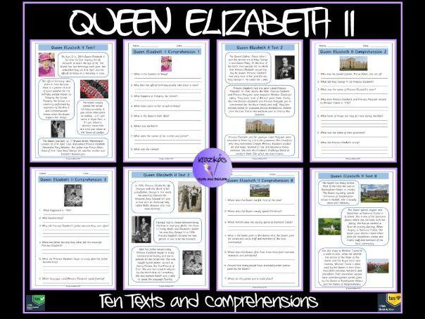 Queen Elizabeth II:  Set of 11 Texts and Comprehensions