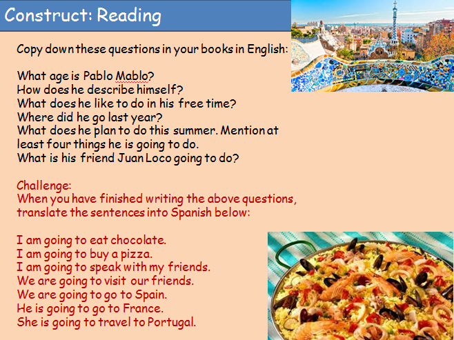 KS3 Spanish Cover Lesson Future GOING TO tense practice
