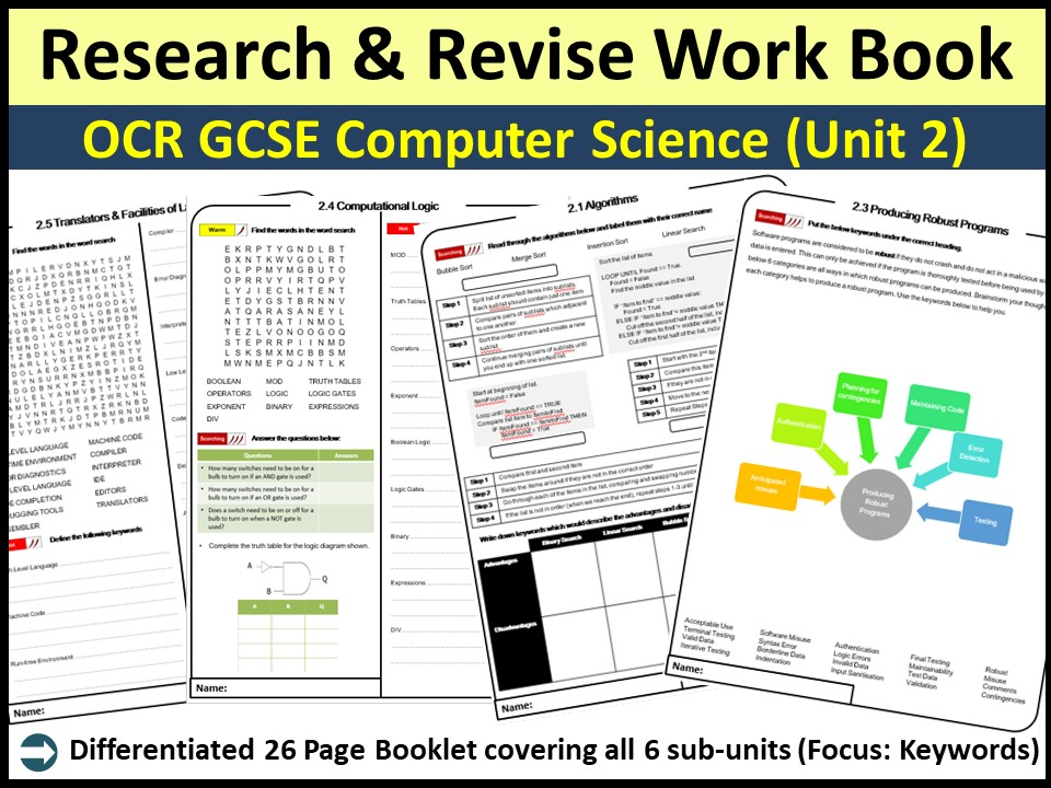 OCR GCSE Computer Science (9-1) Unit 2- Research & Revise Work Book