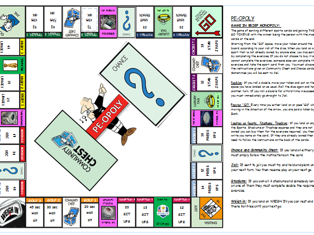 Fitness Monopoly - Monopoly game all based upon practical fitness lesson