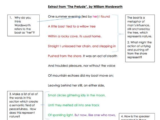 """GCSE Poetry Anthology: Extract from """"The Prelude"""" Analysis Task"""