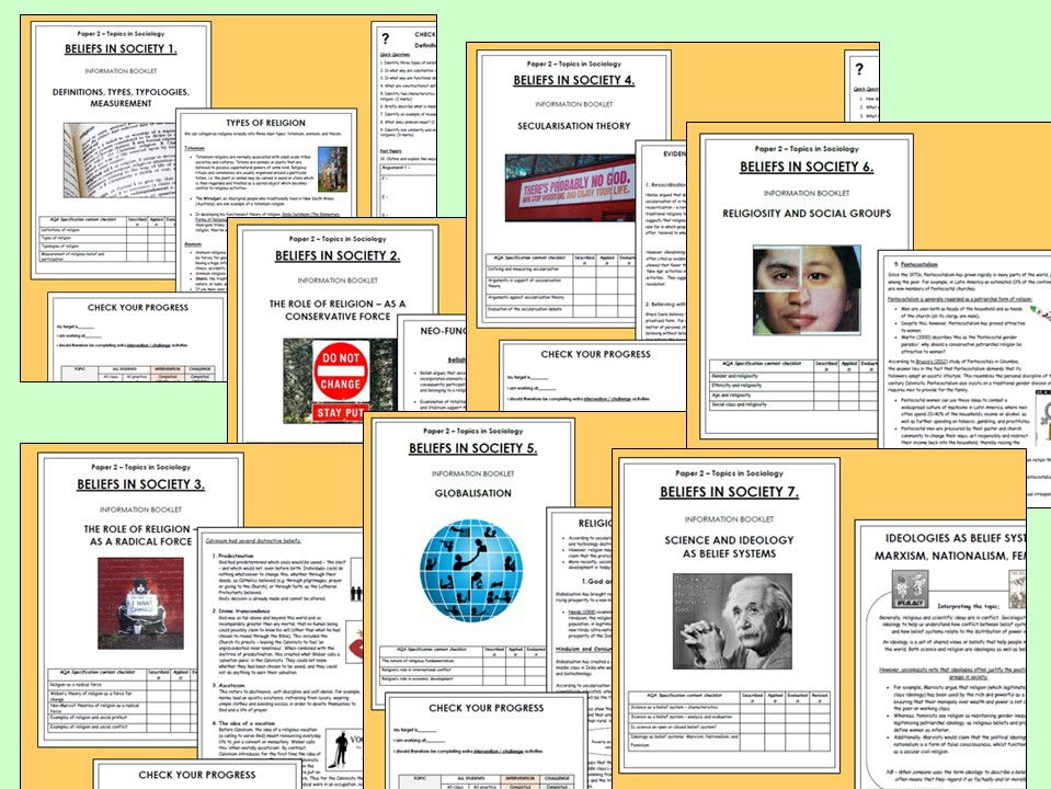 AQA A-level Sociology - Beliefs in Society Booklets (Whole Unit)
