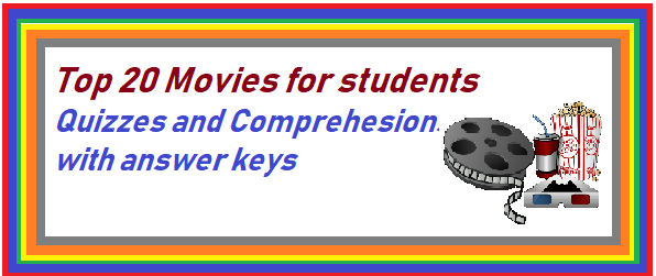 20 top  Movies for students- comprehensions / quizzes with keys