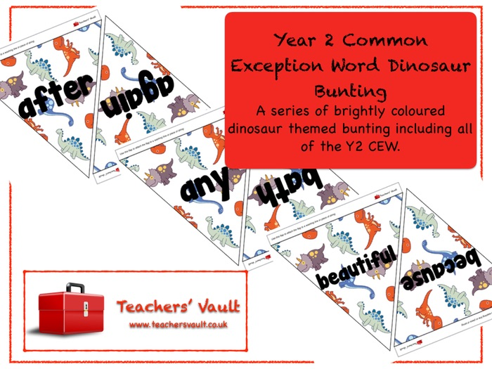 Year 2 Common Exception Word Dinosaur Bunting
