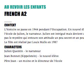Au Revoir les Enfants - Events in chronological order