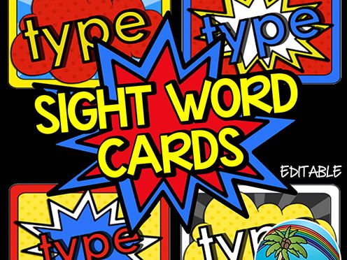 Superhero Sight Words - EDITABLE