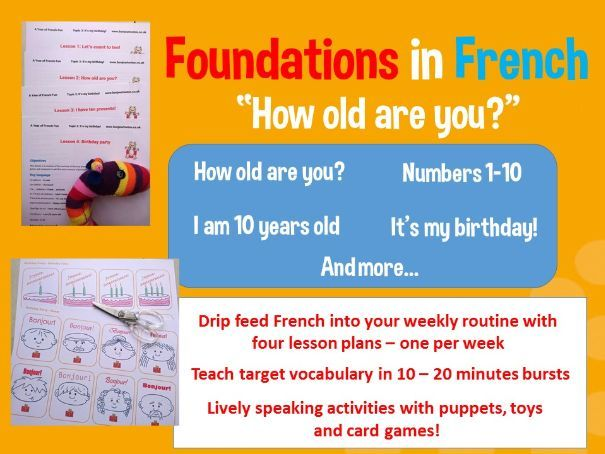 French basics - How old are you? - 4 lesson plan mega bundle