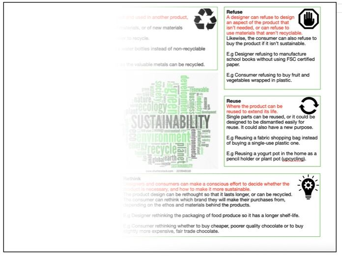 GCSE Design Technology 6Rs Sustainability