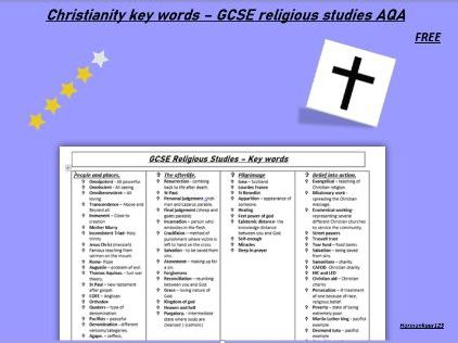 Christianity Key words- GCSE RELIGIOUS STUDIES AQA .