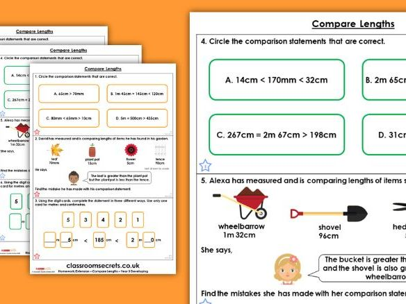Year 3Compare Lengths Spring Block 4 Maths Homework Extension