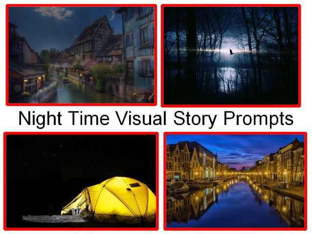 Night Time Presentation and Visual Story Prompts, Fun Story and 31 Activities