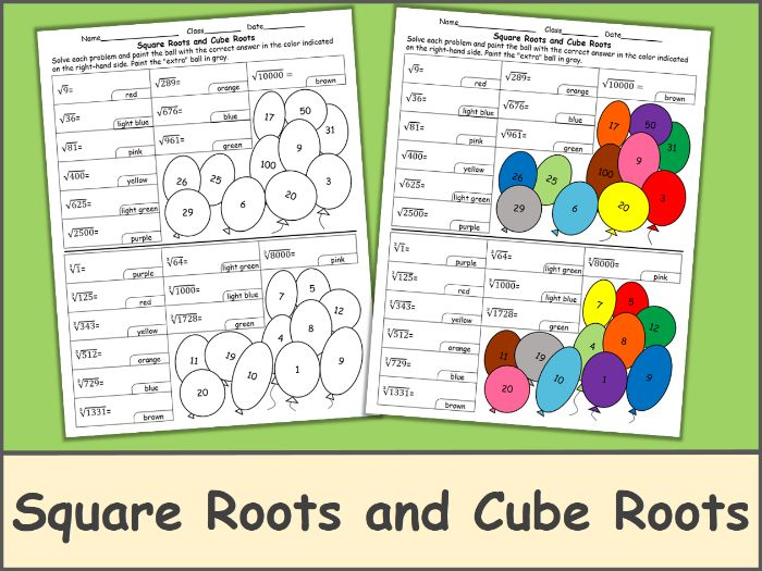Square Roots and Cube Roots Color by Number