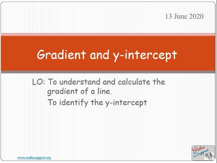 Gradient and y-intercept of a straight line