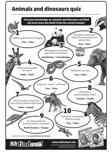 Animals and Dinosaur KS2 quiz
