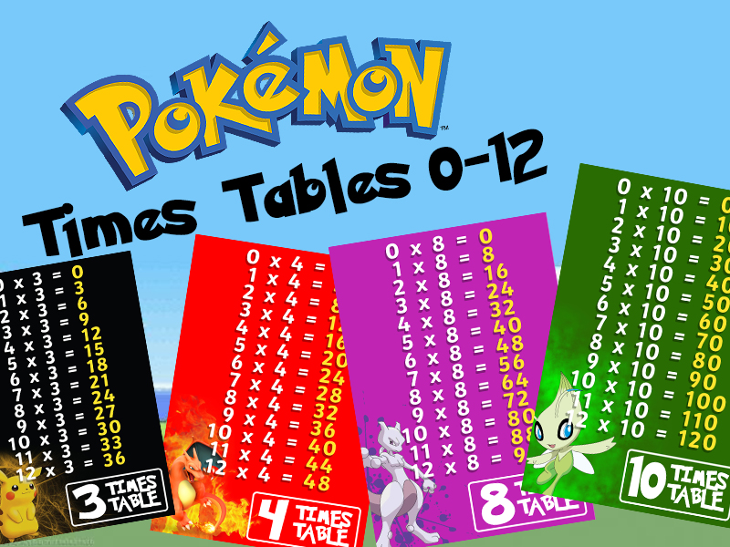 Pokemon Times Tables Posters 0-12