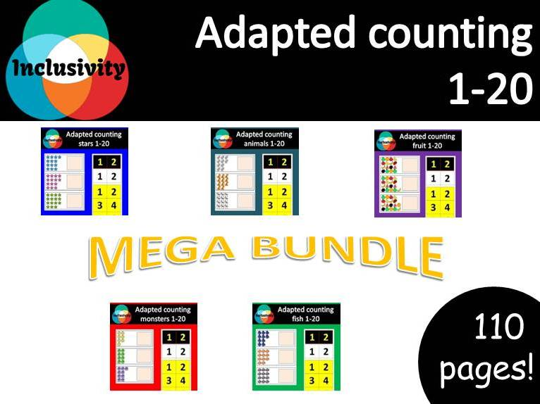 Adapted special needs Maths workstation counting numbers 1-20 bundle pack - Inclusivity