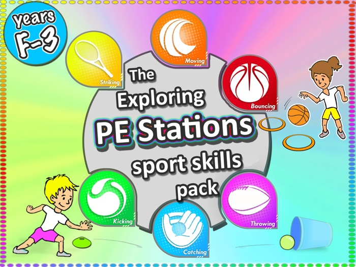 PE Stations & Activities: Lessons & cards for PE & Sport Skills Grades F-3
