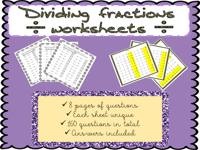 Dividing fractions worksheets (160 questions)