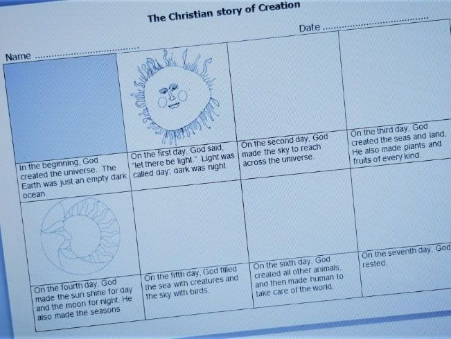 Christian Creation Storyboard - Differentiated