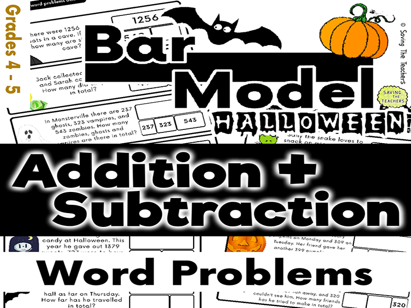 Halloween: Addition and Subtraction Bar Model Word Problems - Years 5 - 6